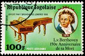 TOGO - CIRCA 1977: A stamp printed by Togo, shows Beethoven piano and portrait, circa 1977