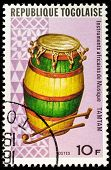 TOGO - CIRCA 1991: A stamp printed by Togo, shows Tamtam drum, circa 1991