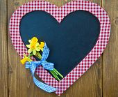 Heart-shaped Chalkboard And Fresh Daffodils