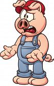Cartoon pig discussing. Vector clip art illustration with simple gradients. All in a single layer.
