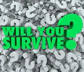 stock photo of survival  - Will You Survive Words 3D Question Mark Background Survival - JPG