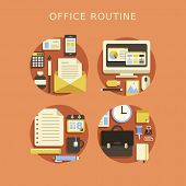 Flat Design Concept Of Routine Office