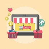 Flat Design Concept With Icons Of Online Shop Ideas Symbol And Shopping Elements