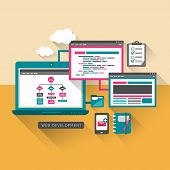 Flat Design Concept Of Web Development
