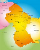 Vector detailed map of Guyana country
