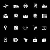 Logistic Icons With Reflect On Black Background
