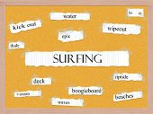 Surfing Corkboard Word Concept