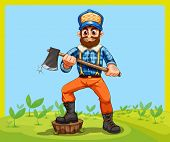 Illustration of an old lumberjack holding an axe while stepping at the stump