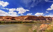 pic of southwest  - Colorado River Reflection Green Grass Red Rock Canyon Outside Arches National Park Moab Utah USA Southwest - JPG