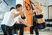pic of suspension  - attractive woman doing suspension training with fitness straps - JPG