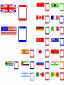 stock photo of south american flag  - Background phone with american flag and England flag - JPG