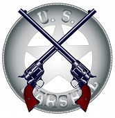 stock photo of wrangler  - Two long barel six guns on top of a US Marshal Badge - JPG