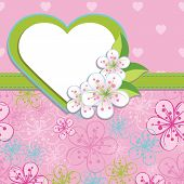 Spring Design Template.cherry Flowers Background And Heart