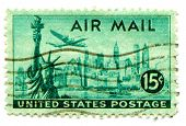 USA-CIRCA 1947: United States Airmail postage stamp showing image of  Lockheed Constellation airplan