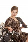 Woman Leopard Dress Motorcycle Sit Side Look