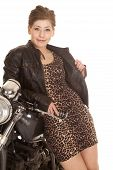 Woman Leopard Print Dress Lean On Motorcycle Smile