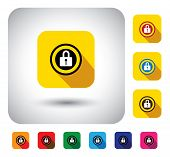 Closed Lock Sign Of Security On Button - Flat Design Vector Icon.