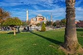 The Hagia Sophia Looked Thru The Garden Between The Blue Mosque