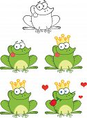 Happy Frog With Tongue Out Cartoon Characters. Set Collection
