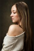 Portrait Of Girl In Knitted Sweater