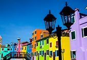 Burano Island Canal, Colorful Houses