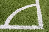 The corner of a football field