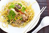 stock photo of chinese wok  - Chinese Deep Fried Noodle with seafood and vegetable - JPG