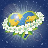 Planet Earth In The Heartsform With Orbit Of Spring Flovers