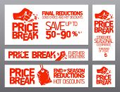 Price break banners for seasonal clearance.