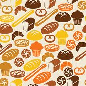 Seamless Retro Pattern With Fresh Bread And Pastry