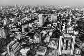 Black and white landscape of Bangkok