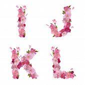 Spring alphabet with cherry flowers IJKL