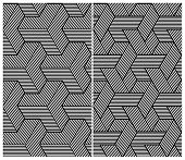 Set of Two B&W Seamless Patterns. Abstract Elements. Vector Illustration