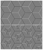 Set of Two B&W Seamless Patterns. Cubic Elements. Vector Illustration