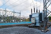 picture of transformer  - Transformer station and the high voltage electric pole - JPG