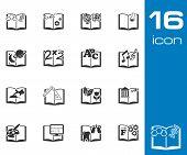 Vector black schoolbooks icon set