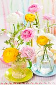 Beautiful colorful ranunculus in  glass bottles