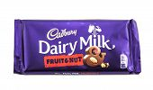 Bar Of Cadburys Dairy Milk Fruit And Nut Chocolate