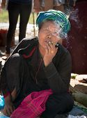 Burmese Woman Smoke Cheroot Cigar