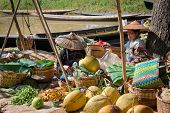 Burmese Traditional Open Market With Vegetable