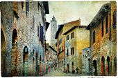 medieval Tuscany. Streets of San Gimignano. Artistic picture