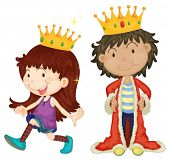 Illustration of queen and king