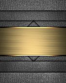 Metal Texture With Different Notches And Gold Nameplate