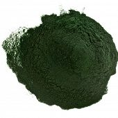 Spirulina powder  algae nutritional supplement heap surface close up top view, isolated on white bac