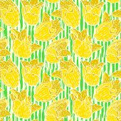 Vintage floral pattern with yellow tulips