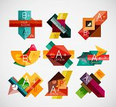Geometrical shaped infographic concept set. Can be used as infographic template, business card design, abstract geometric symbols, multipurpose web elements, mobile app templates