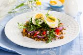Lentil,eggs and red pepper salad for Easter