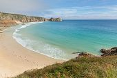 Porthcurno beach and bay Cornwall England UK by the Minack Theatre