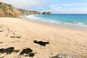 Beach by Minack Theatre Porthcurno Cornwall England UK