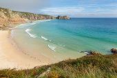 Porthcurno beach Cornwall England UK
